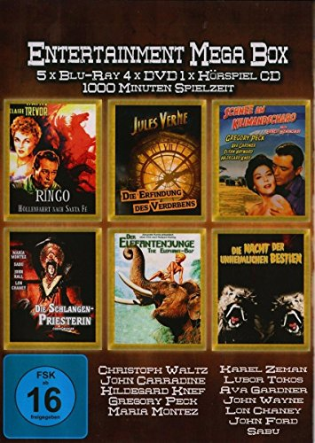 Entertainment Mega Box [Blu-ray] [Limited Edition]: Amazon.de: Waltz, Christoph, Carradine, John, Knef, Hildegard, Peck, Gregory, Zeman, Karel, Tokos, Lubor, Gardner, Ava, Wayne, John, Chaney, Lon, Sabu, King, Henry, Ford, John, Zeman, Karel, Flaherty, Robert, Korda, Zoltan, Waltz, Christoph, Carradine, John: DVD & Blu-ray